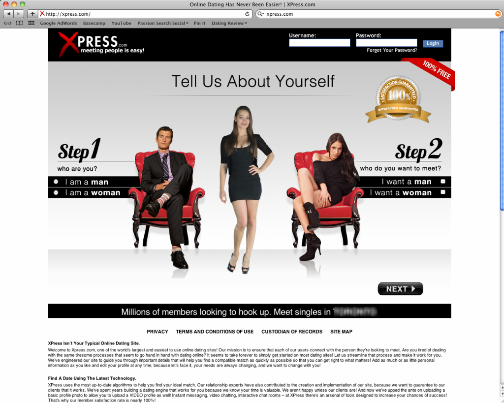 xpress dating site login