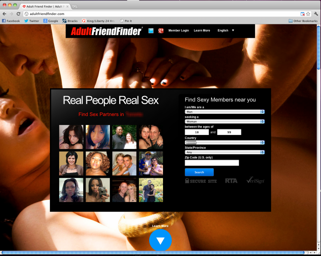 Adult friend finder login page